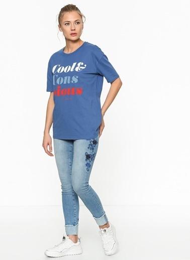 Only Baskılı Tişört Mavi